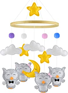 Baby Mobile, Detuosi Baby Crib Mobile, Handmade Nursery Mobiles with Stars/Clouds/Balls/Moon and Adorable Owls, Soft Felt with Great Combined Colors, Cute Mobile for Boys and Girls [Newest Design]