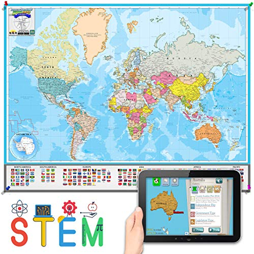 Interactive Laminated World Map for Kids – Geography and Nations – Included Augmented Reality Education App – STEM Toy Learning for Boys and Girls Aged 5, 6, 7, 8, 9, 10, 11, 12 (Medium)