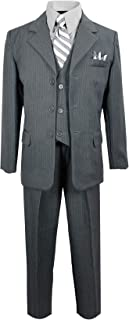 Black n Bianco Boys Pinstripe Suit with Matching Tie Size 2-20
