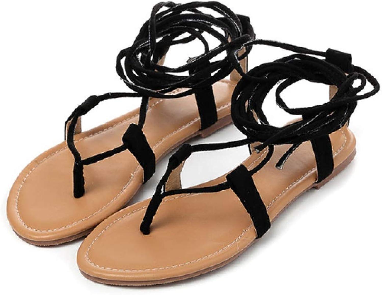 JOYBI Women's Knee High Strappy Flat Sandals Lace Up Cross-Strap Clip Toe Thongs Beach Dress Casual Flip Flops