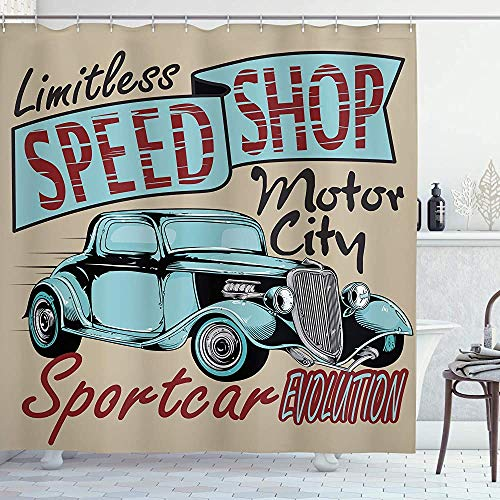 Retro Douchegordijn Nostalgische Reclame Print Antieke Sport Auto in Retro Rusty Kleuren Art Design Doek Stof Badkamer Decor Set met Haken Teal Rood 66 * 72in
