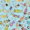 輸入生地 Loralie Designs ローラライデザインズ ローラライハリス ロラリー GOLF HAPPY ゴルフハッピー ガールズ スカイブルー USAコットン 巾約110cm×50cmカットクロス LORA692-368-50