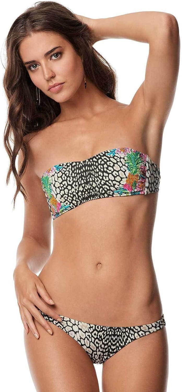 PilyQ Women's Safari Embroidered Bandeau Bikini Top