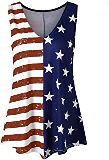 general3 Tank Tops for Women Independence Day Striped American Flag Print V Neck Workout Fitness Vest Shirt