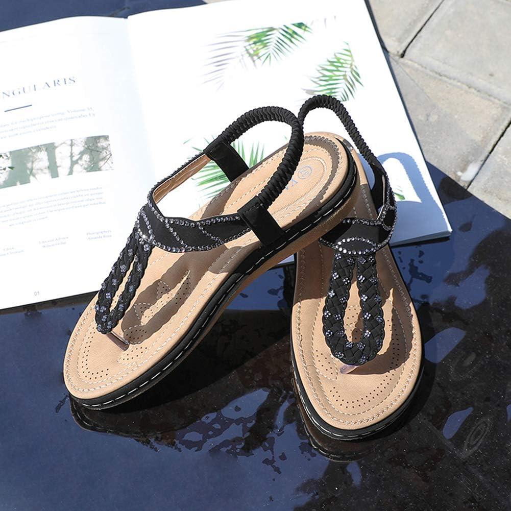 Dytxe-shelf Ladies Peep Toe Sandals Womens Flat Sandals Summer Flat Sandals Women Elastic Strap Sandals for Girls Black