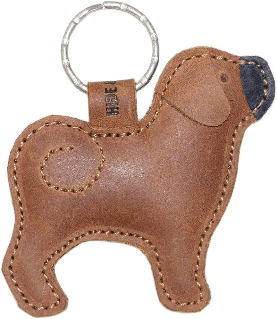 Hide Drink Leather San Francisco Mall Keychain Now free shipping Pug Dog Key Holder Ring Lov