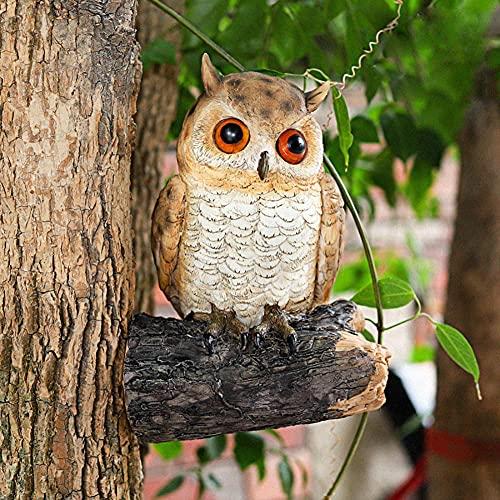 HomDSim Escultura de árbol de resina de búho Peeker Yard Art Garden Owl Estatua, Búho falso, Figuras coleccionables Jardín Césped Adornos