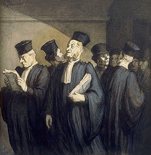 Antes da Audiência Caso Penal Advogados Tribunal Justiça Pintura de Honoré Daumier na Tela em Vários Tamanhos (50 cm X 50 cm tamanho da imagem)