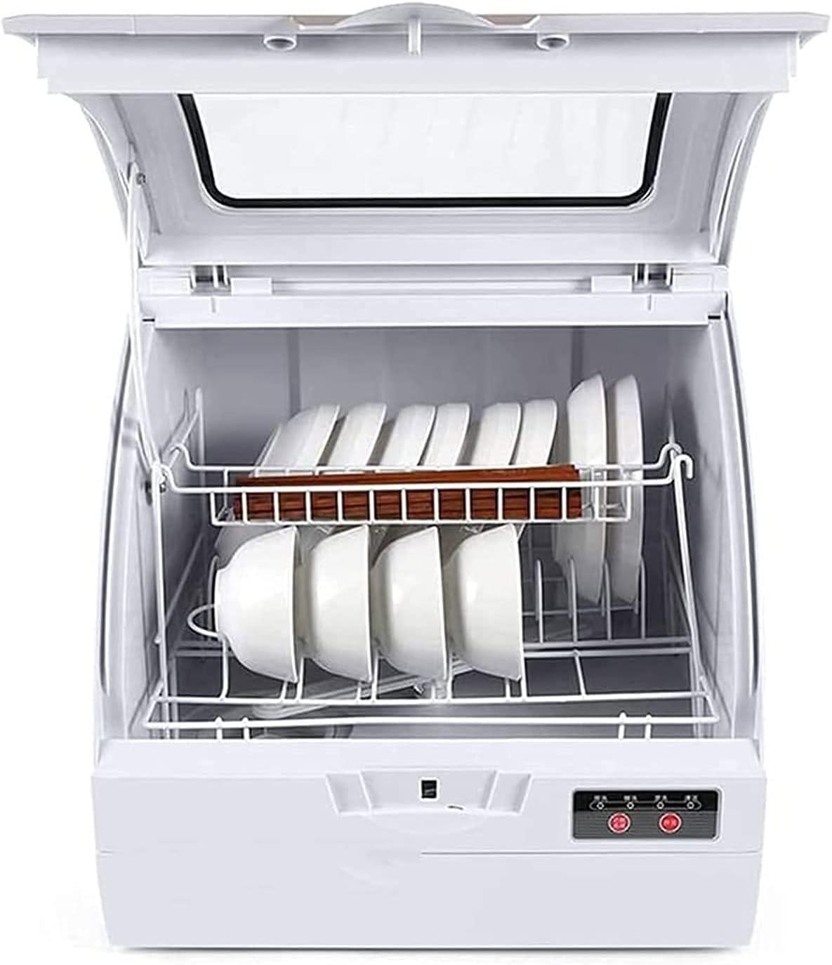 MOSHUO Lavavajillas de encimera portátil Completo con Tanque de Agua Incorporado de 5 litros, 3 programas, lavavasos y Frutas