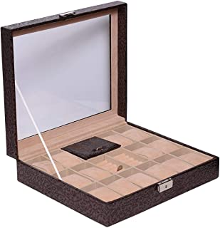 Laveri 14 Watch Ring and Cufflinks Top Glass Box, Brown