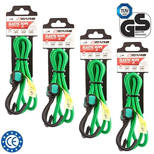 4 pezzi di qualità premium corda elastica con ganci, lunghezza 100 cm, spessore 8 mm, colore: verde