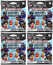 Teenymates Party Animal 2020-21 NFL Series 9 Silver Highlights Mini Figures Blind Bags Gift Set Party Bundle - 4 Pack