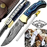 Pocket Knife Blue Wood 6.5'' Beautiful Damascus Steel Knife Brass Bloster Folding Knife Back Lock...