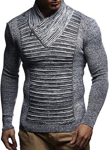 LEIF NELSON Herren Strickpullover | Langarm Slim Fit Shirt | Basic Winter Sweatshirt mit Schalkragen für Herren -  -  4X-Large