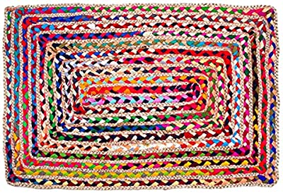 Zahra Jute Cotton Area Rug- 2x3 Feet Rectangular Hand Woven Multicolor Recycled Cotton Reversible Braided Rag Rug
