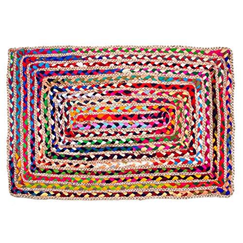 Umi. Alfombra de yute y algodón, multicolor, tejida a mano, reversible, los colores pueden variar (60 x 90 cm, algodón + yute, multicolor (rectangular)