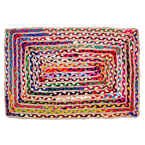 Umi by Amazon Cotton & Jute Multi Chindi Area Rug - Multicolor Hand Woven Braided Reversible Rug...