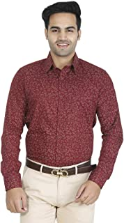 EL FIGO Men's Casual Full Sleeve Maroon Floral Cotton Printed Slim FIT Shirt
