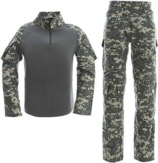 LANBAOSI Men's Hiking Tactical Combat Shirt and Pants Set Long Sleeve Multicam Woodland BDU Hunting Military Uniform 1/4 Zip