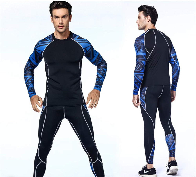 Chengzuoqing Mann Kompression Strumpfhosen & Hemden Set Gym Leggings Fitness Sport Laufen Yogahosen + Hemdanzug (Farbe   Blau, Größe   XL)