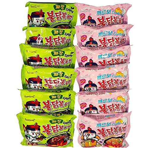 HOT Samyang Ramen Nudeln SET- 6 statt 5 Portionen je Sorte (6x130g & 6x140g Scharfe Nudeln) Korean Fire Noodle Challenge- Vorteilspack 12 Portionen