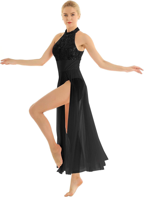 Alvivi Women's Shiny Sequined Mesh Selling and selling Halter Dance Lat Cheap SALE Start Ballet Dress