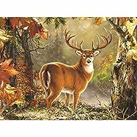 クロスステッチ 大人のためのクロスステッチキット 森の中の鹿 40x50cm 11CT番号別刺繍キット手作りキットパンチ針刺繍DIY初心者向け手作りスターターキット
