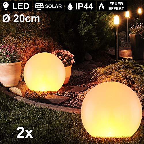 2er Set LED Solar Kugel Steck Lampen Feuereffekt Garten Weg Deko Beleuchtung Hof Erdspieß Leuchten