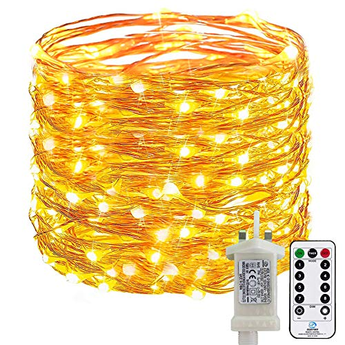 [220 LED] Fairy String Lights, 25M 8 Modes Low Voltage Plug in Fairy Lights Waterproof Outdoor/Indoor Copper String Lights with Remote Timer for Bedroom, Yard, Party, Christmas (Warm White)