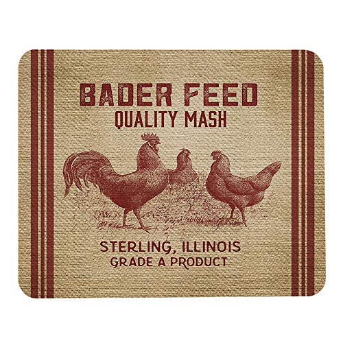 Wozukia Chicken Feed Sack Mouse Pad Vintage Feed Sack Burlap Dark Red Brown Gaming Mouse Pad Rubber Large Mousepad for Computer Desk Laptop Office Work 7.9x9.5 Inch