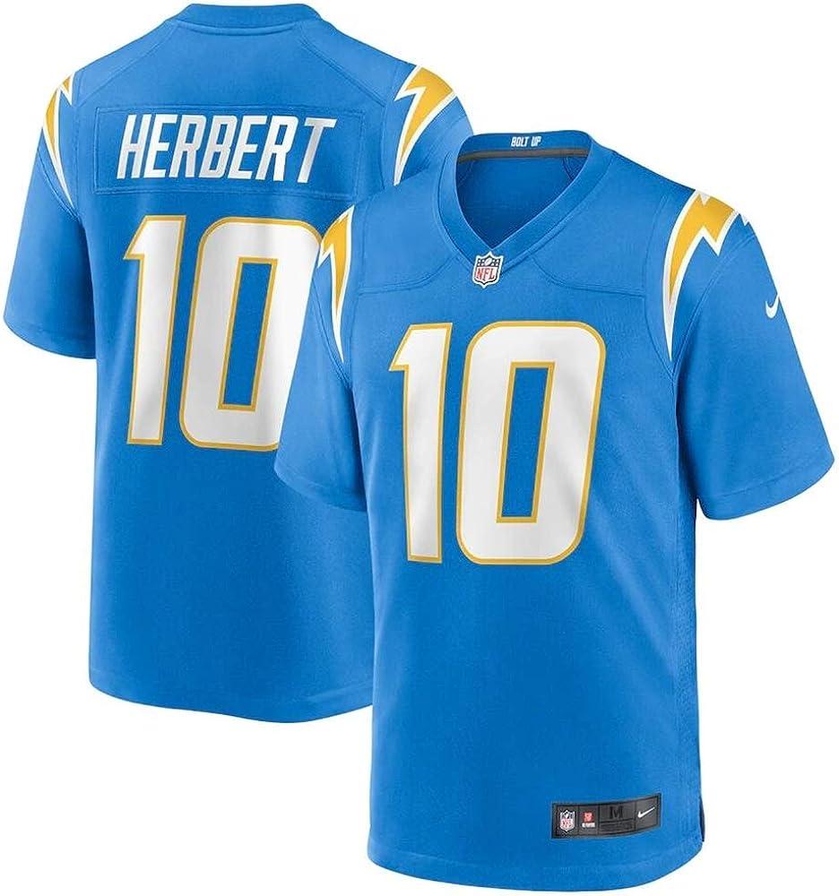 Herren T-Shirt American Football Uniform Los Angeles Chargers Herbert #10 Football Trikots Gruby Tee Shirts
