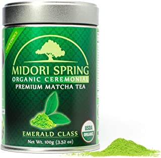 Midori Spring USDA Organic Ceremonial Matcha - Emerald Class - Chef's Choice Quality Japanese Matcha Green Tea Powder, Kos...