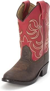 Smoky Children's Kid's Monterey Dark Brown and Red Western Cowboy Boot