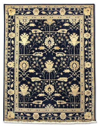 Pak Persian Rugs Handgeknüpfter Ushak Teppich, Schwarz, Wolle, Large, 265 X 348 cm