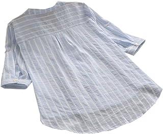 Keaac 女性ストライプロールアップスリーブカジュアルコットンボタンダウンチュニックトップTシャツブラウス
