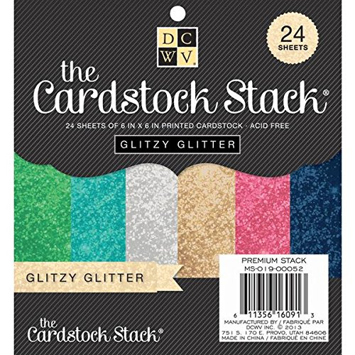Diecuts With A View MS019052 Paper Stack, 6 by 6-Inch, Glitzy Glitter, 24-Pack