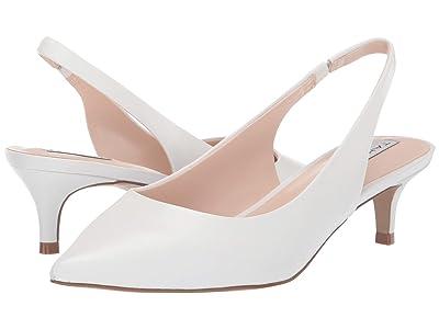 Tahari Finnley Slingback Kitten Heel (White Leather) Women