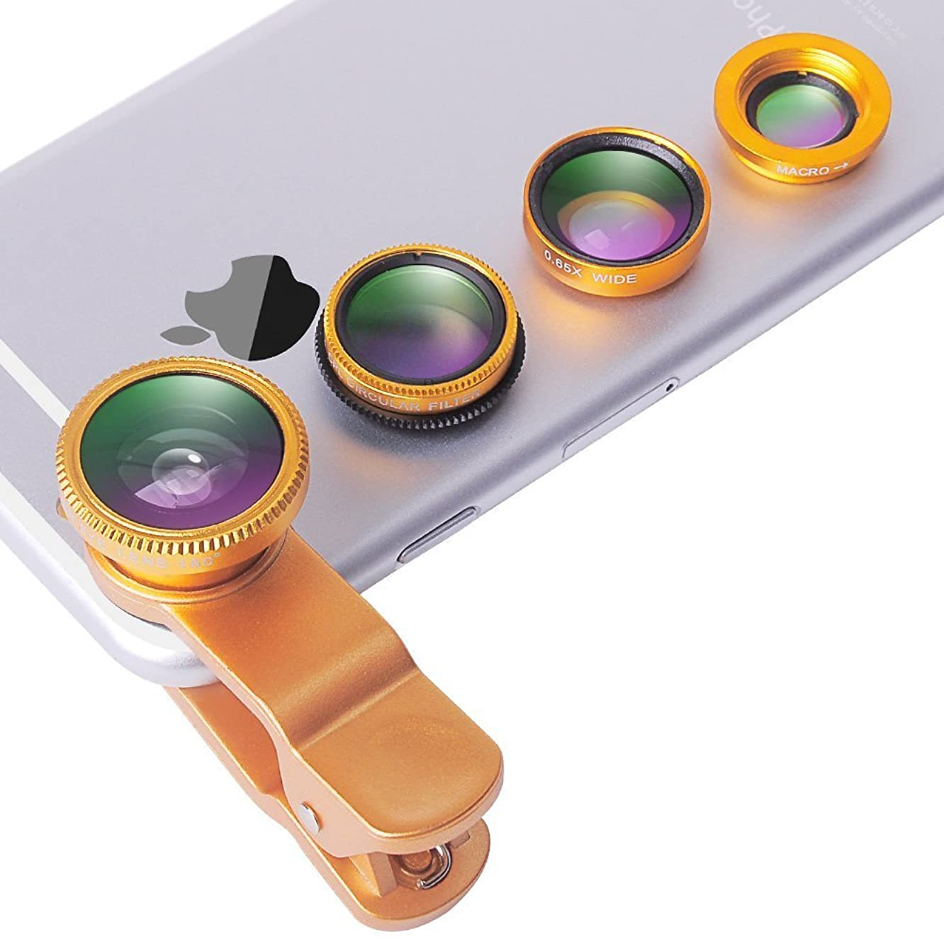 Evershop Universal 4 in 1 iPhone Camera Lens Kit Clip on Fish Eye Lens + 2 in 1 Macro Lens + Wide Angle Lens + CPL Lens Camera Lens Kit for Smart Phones (Gold)