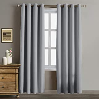 Rose Home Fashion Blackout Curtains Thermal Insulated Room Darknening Draperies 84 Inch Blackout Window Curtain Panels, 2 Pieces Blackout Curtains for Bedroom/Living Room, W52 x L84, Grey