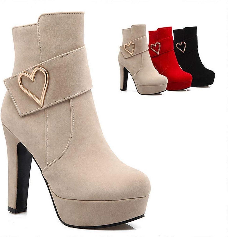 IG Damen Stiefel - Dicke Ankle Stiefelies Fashion Sexy Kurze Stiefel Martin Stiefel Large Größe Damen Stiefel 34-43,Polieren,39  | München