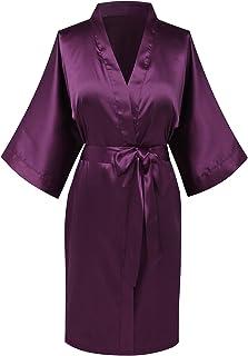 Joy Bridalc Women's Satin Short Kimono Bridemaid Robe Bathrobe for Wedding Party