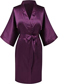 Women's Pure Color Satin Kimono Robes Bridesmaid Wedding Party Dressing Gown,Short