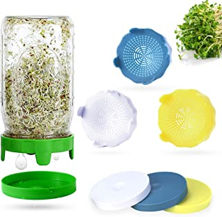 Sprouting Lids, 4 Pack Sprout lids for Wide Mouth Mason Jars, Easy Rinse and Drain Plastic Sprouting Kits with 4 Pack Wate...