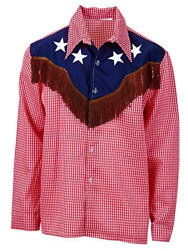 Widmann wdm1574u–Kostüm für Erwachsene Hemd Rodeo Cowboy, Rot, XL