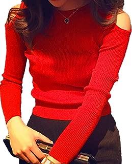 【カナエルン】 オフショルダー 長袖 リブ編み風 ラウンドネック カジュアル トップス 通勤 通学 パーティー イベント アフター かわいい きれい カットソー ストレッチ 丸首 トレーナー tシャツ レディース