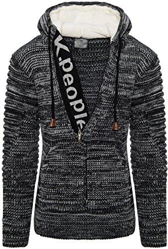 Karl's People Herren Kapuzen Pullover mit Reißverschluss und Kängurutasche K-116 (3XL, Black)