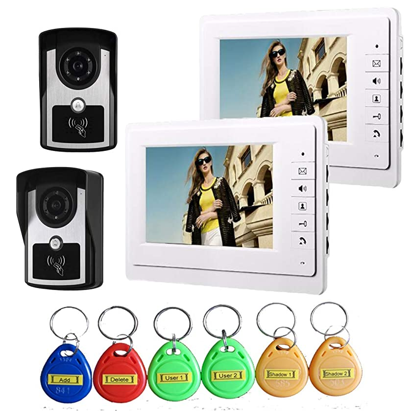 TQ 7 inch Intelligent Video doorbell Remote intercom Access Control System HD 1000TVL Infrared Camera,B