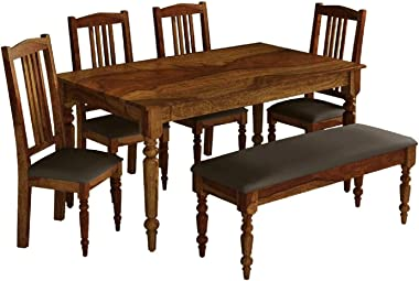 Woodstage Sheesham Wood 6 Seater Dining Table with Chairs for Living Room Home Office Dining Room Wooden Dining Room Set Funi