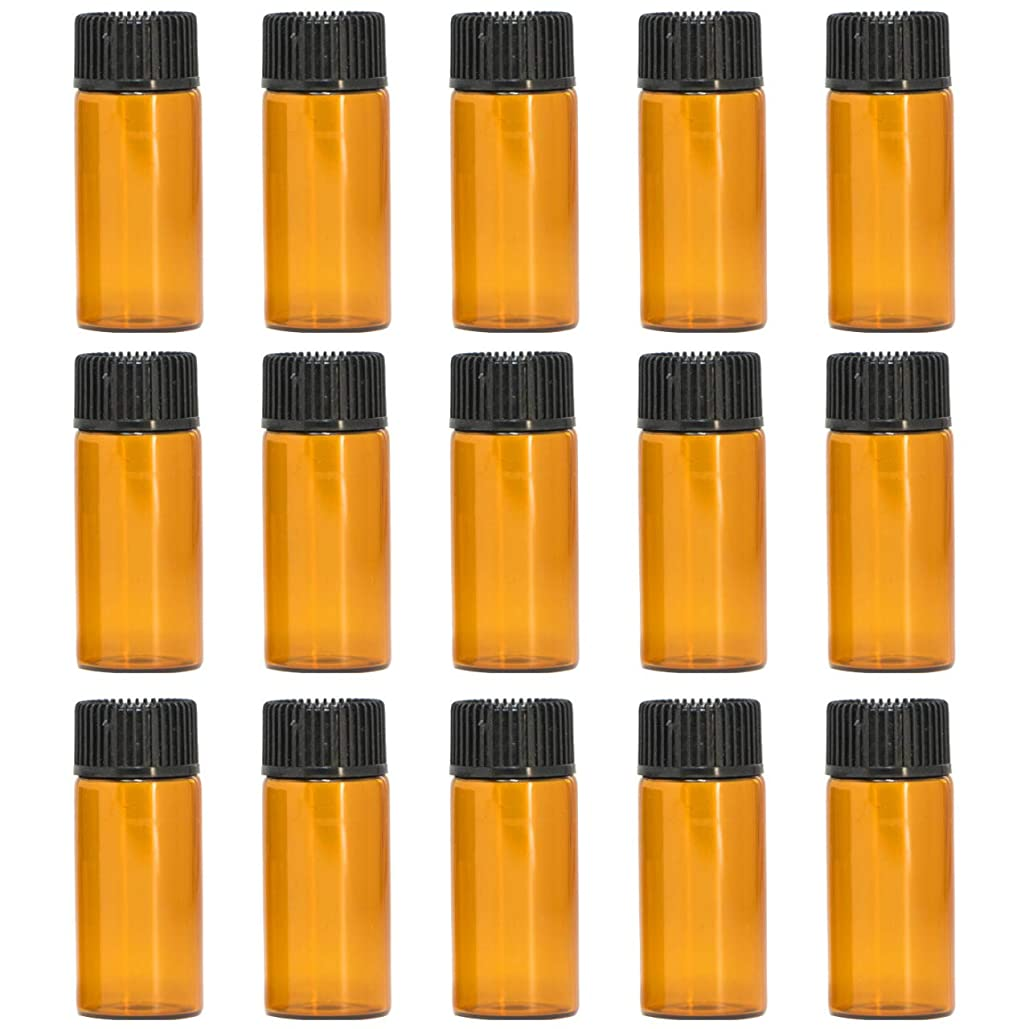 ロック舗装家具アロマオイル 精油 遮光瓶 遮光ビン ガラスボトル ガラス製 エッセンシャルオイル 保存用 保存容器詰め替え 茶色 ブラウン (5ml?15本セット))予備入り