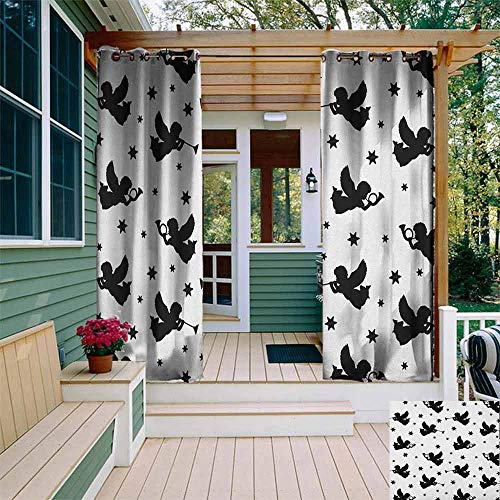 BrujHojqwde Living Room/Bedroom Window Curtains Angel Cupid Icons with Trumpets Angels Sky Stars Fairy Xmas Season Yule Celebration Art Gazebo W72 x L108 Black White
